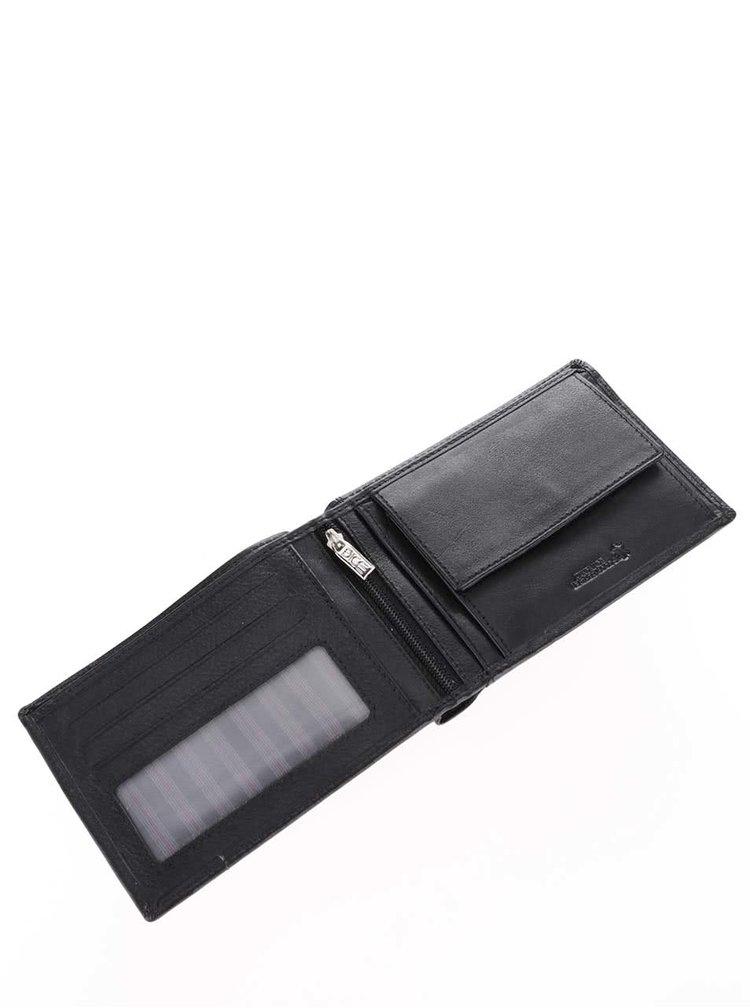 Černá kožená prošívaná peněženka Dice Ray