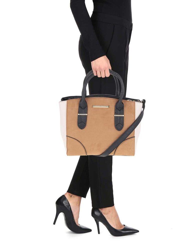 Krémovo-hnedá kabelka s odnímateľným popruhom Dorothy Perkins