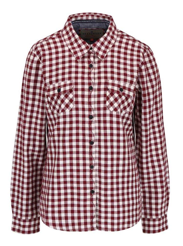 Krémovo-vínová kostkovaná košile Brakeburn Gingham