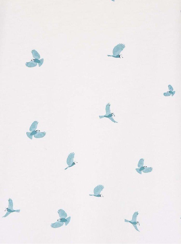 Krémové volnější tričko s potiskem ptáčků Brakeburn Blue Bird