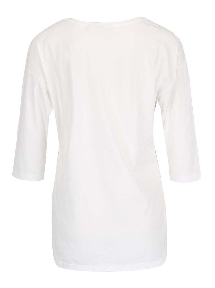 Krémové tričko s potiskem listů a 3/4 rukávy Brakeburn Leaf