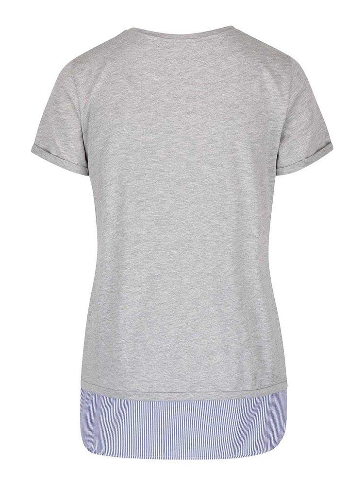 Sivé dlhšie tričko s pruhovaným lemom Dorothy Perkins