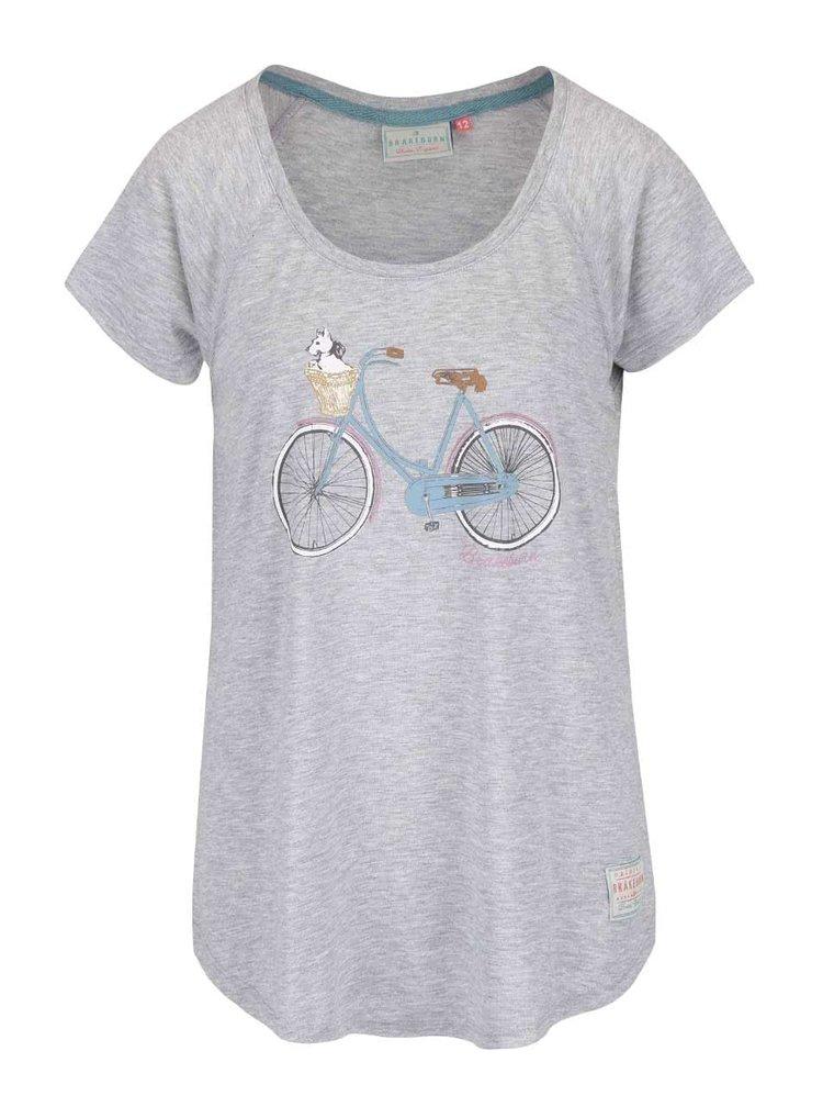 Šedé žíhané oversize tričko s potiskem Brakeburn Basket Bike
