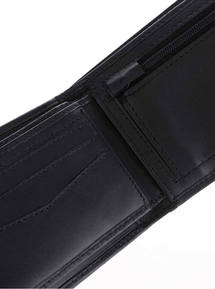 Čierna pánska kožená peňaženka s nápisom Rip Curl Clean 2 in 1