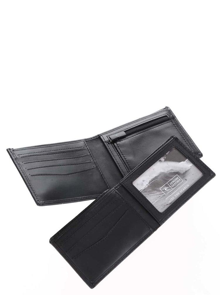 Černá pánská kožená peněženka s nápisem Rip Curl Clean 2 in 1