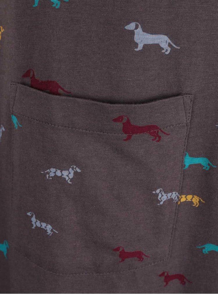 Tmavosivé šaty s potlačou jazvečíkov Brakeburn Sausage Dog