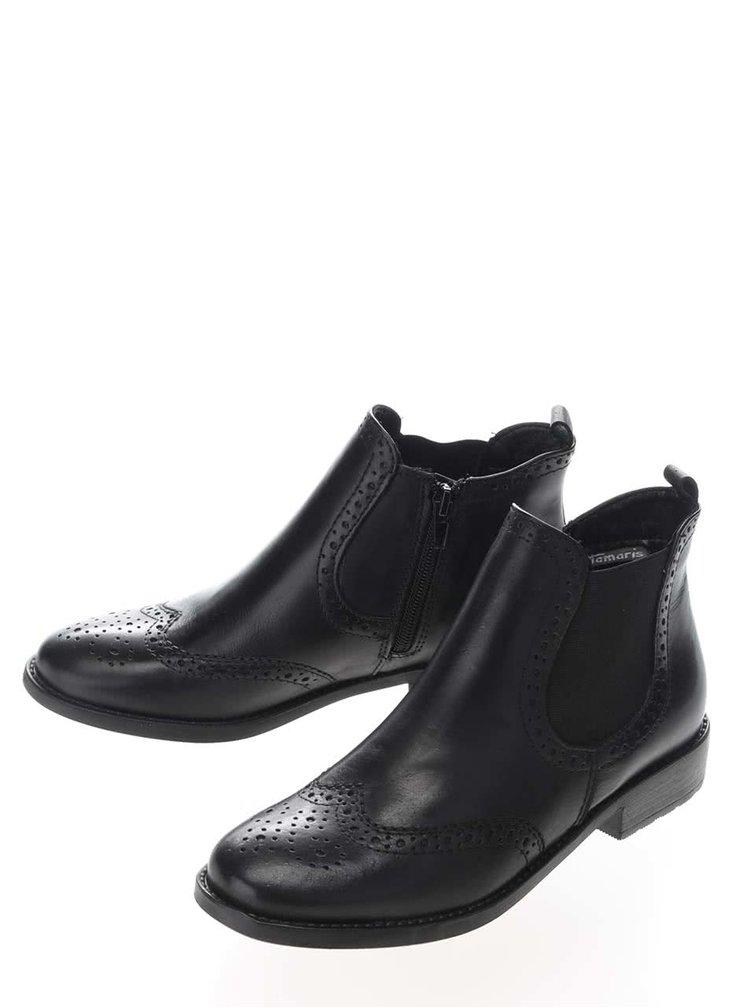 Čierne kožené členkové brogue topánky Tamaris