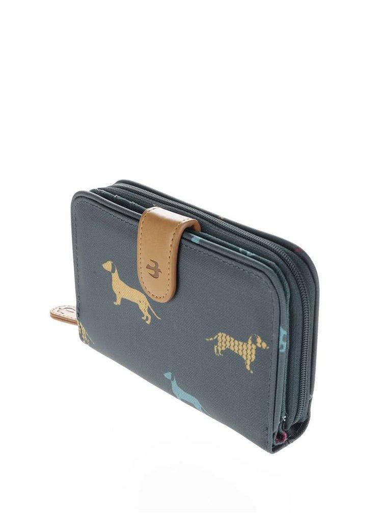 Tmavě zelená peněženka s jezevčíky Brakeburn Sausage Dog