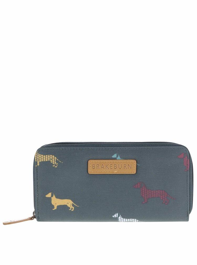 Tmavozelená dlhšia peňaženka s jazvečíkmi Brakeburn Sausage Dog