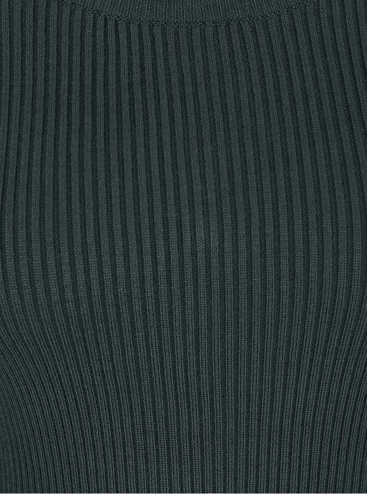 Zelené úpletové šaty so zipsom a dlhým rukávom Apricot