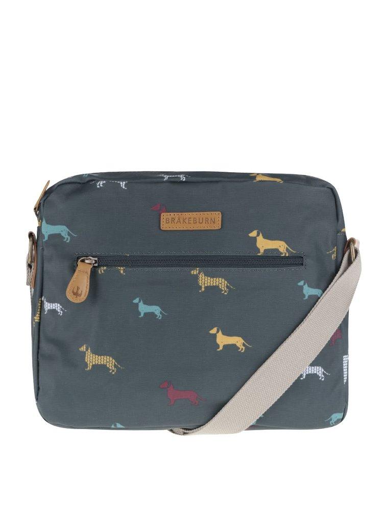 Tmavě zelená taška přes rameno s potiskem jezevčíků Brakeburn Sausage Dog