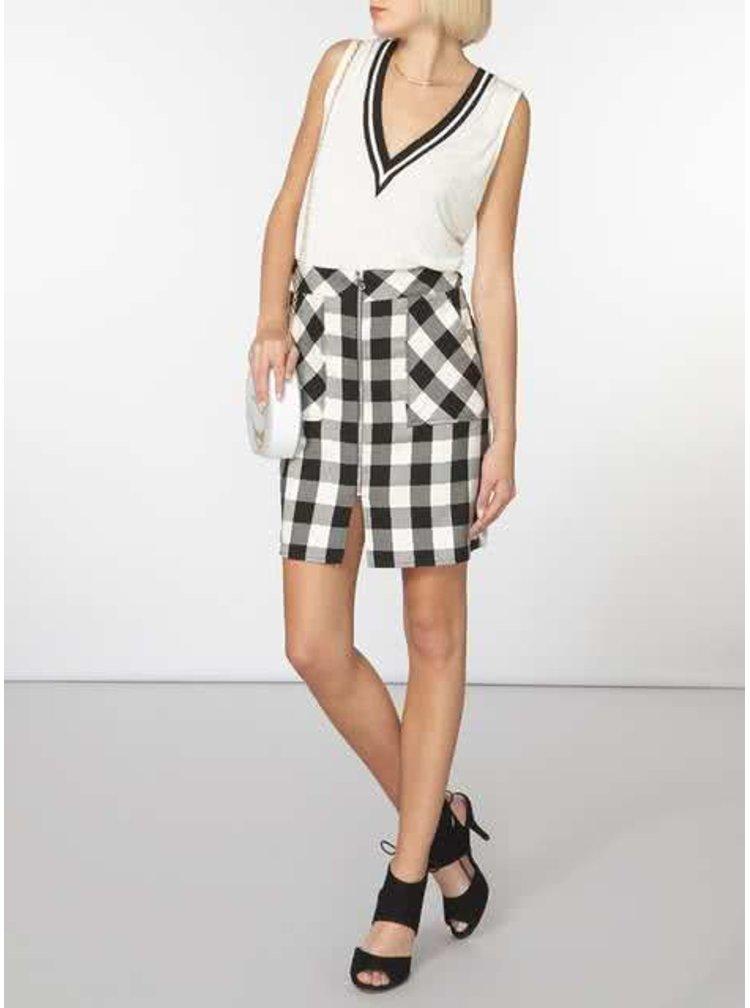Krémovo-černá sukně na zip Dorothy Perkins
