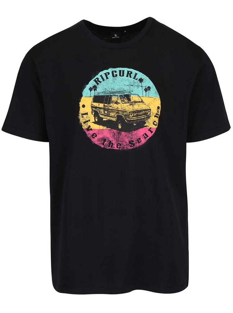Čierne pánske tričko s farebnou potlačou Rip Curl Van SS Tee