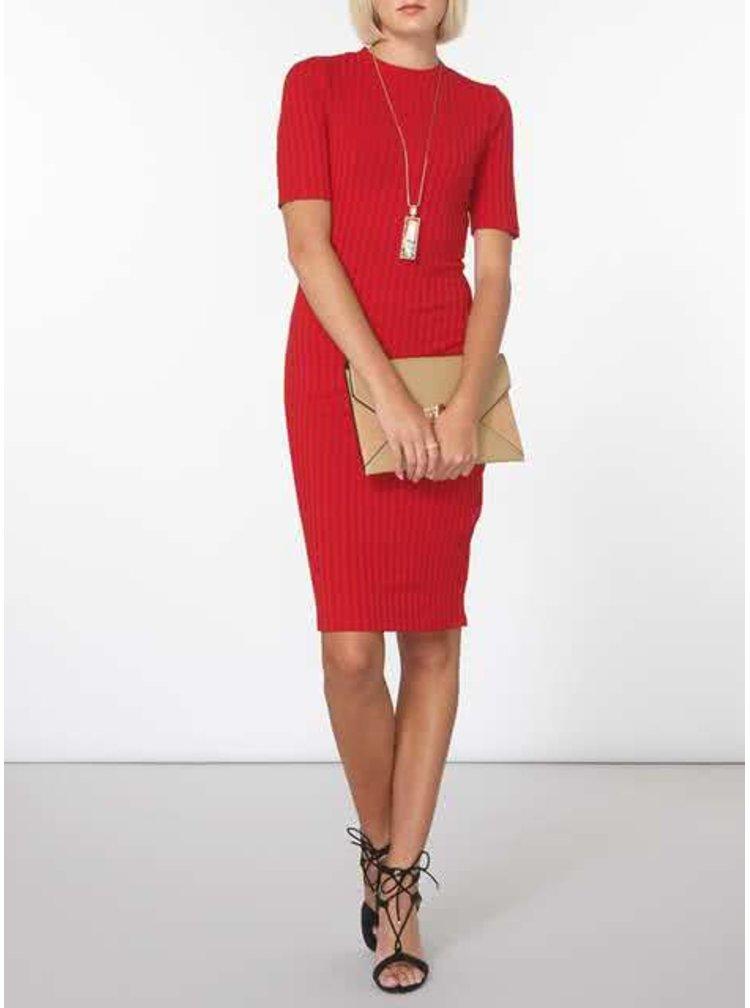 Červené žebrované šaty Dorothy Perkins