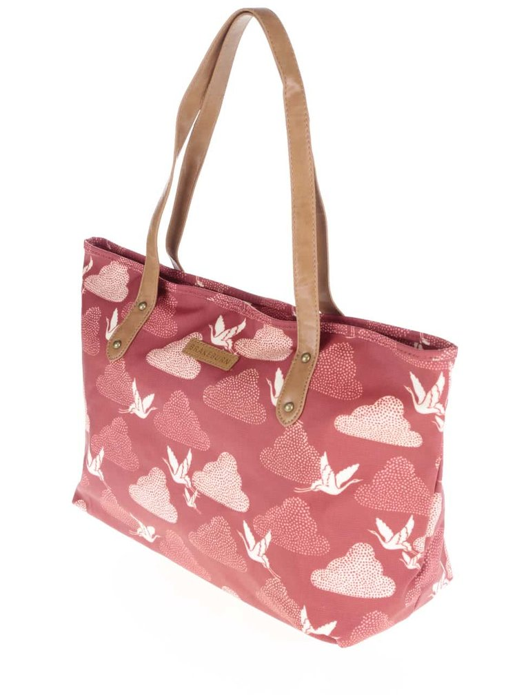 Červená väčšia taška s motívom žeriavov Brakeburn Cranes