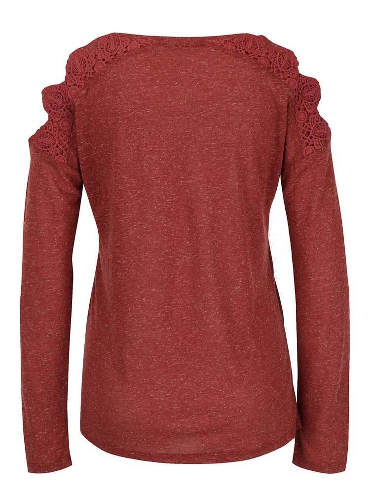 Tehlové dámske melírované tričko s dlhým rukávom Rip Curl Quilotta