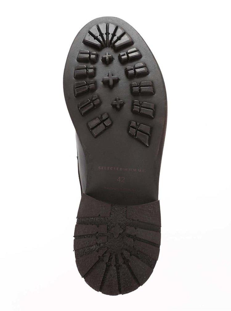 Hnědé kožené kotníkové boty na šněrování Selected Homme Travis