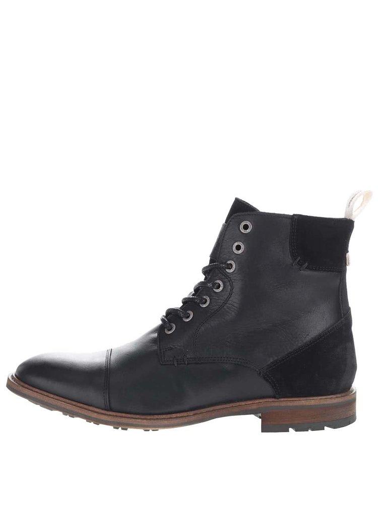 Černé kožené kotníkové boty na šněrování Selected Homme Travis