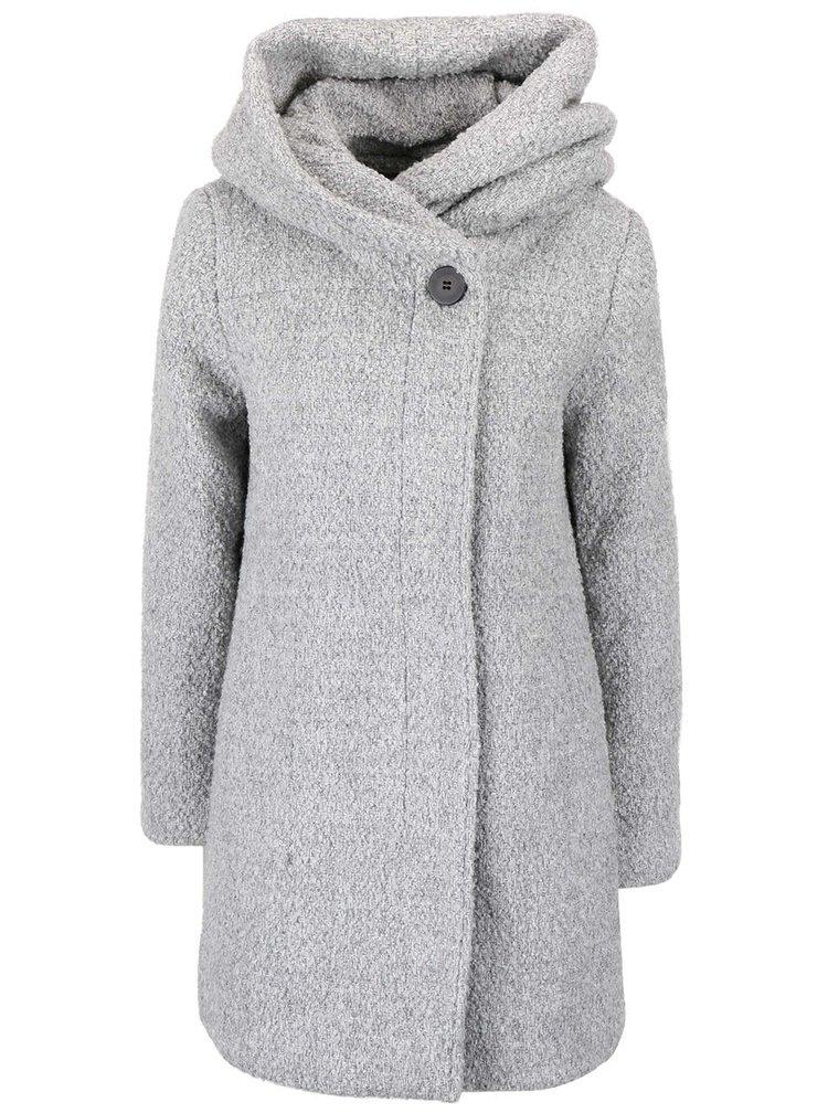 Světle šedý žíhaný zimní kabát s velkou kapucou VILA Cama