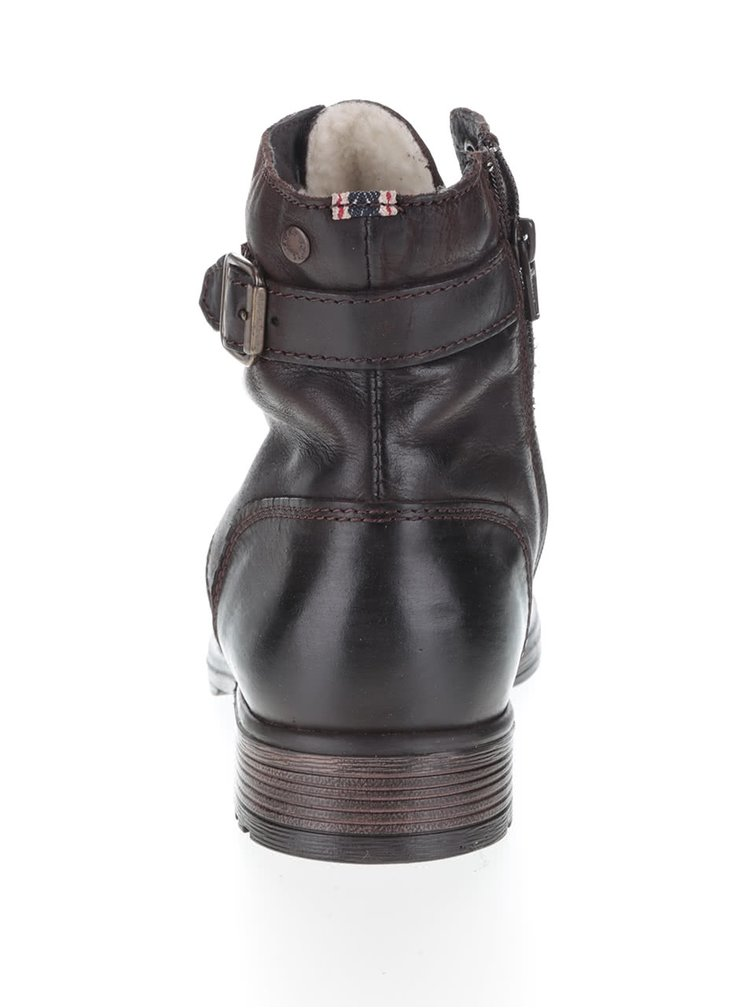 Tmavohnedé kožené členkové topánky s prackami Jack & Jones Siti