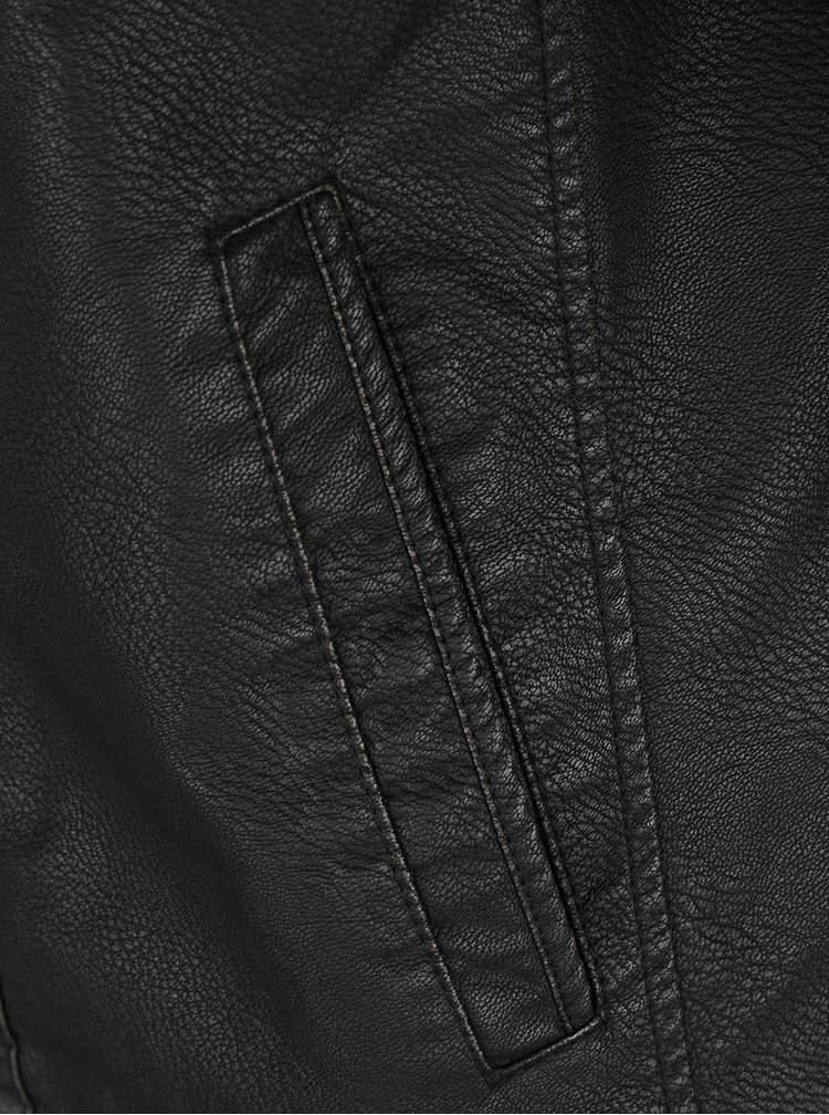 Jacheta neagra Jack & Jones Ben din piele sintetica