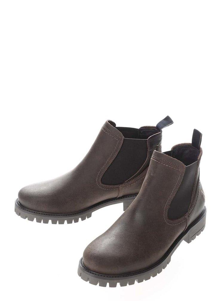 Tmavě hnědé dámské kožené kotníkové boty U.S. Polo Assn. Petra