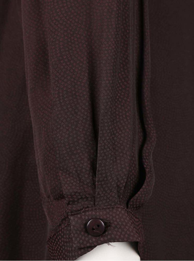 Hnedá tunika s čipkovaným detailom a dlhým rukávom VILA Elia