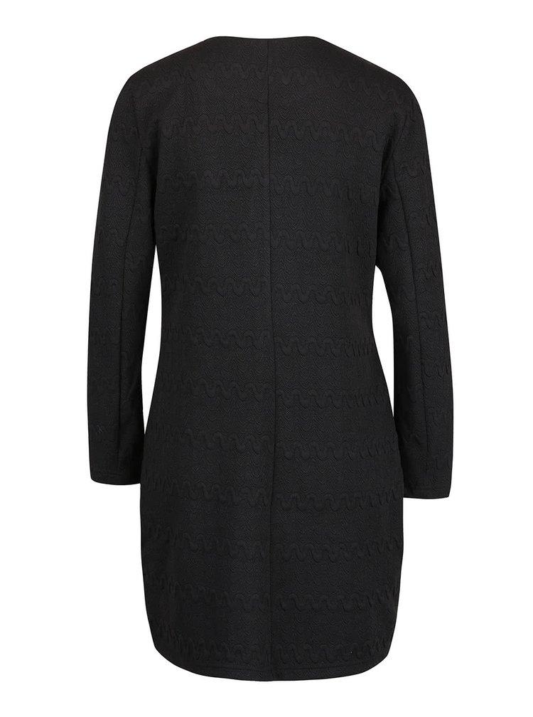 Jachetă lungă neagră VERO MODA Structure cu model în relief