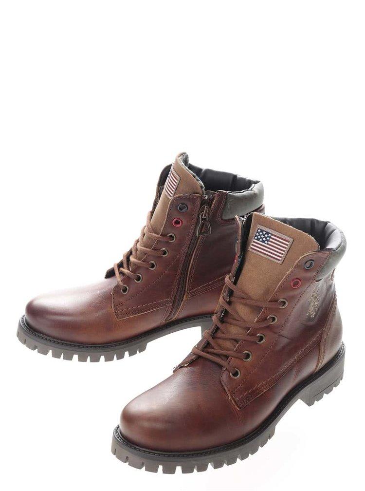 Hnedé dámske kožené členkové topánky U.S. Polo Assn. Paige