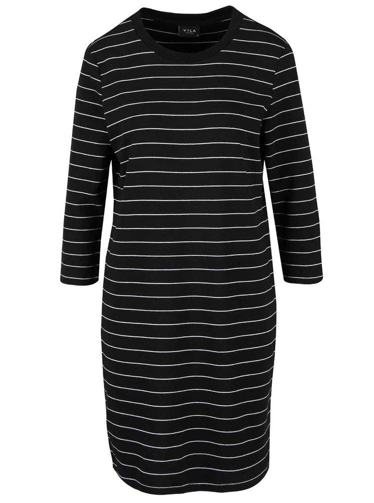 Čierne pruhované šaty s 3/4 rukávmi VILA Tinny