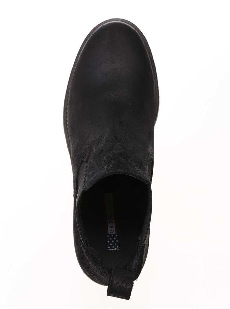 Černé dámské kotníkové boty z broušené kůže U.S. Polo Assn. Faris