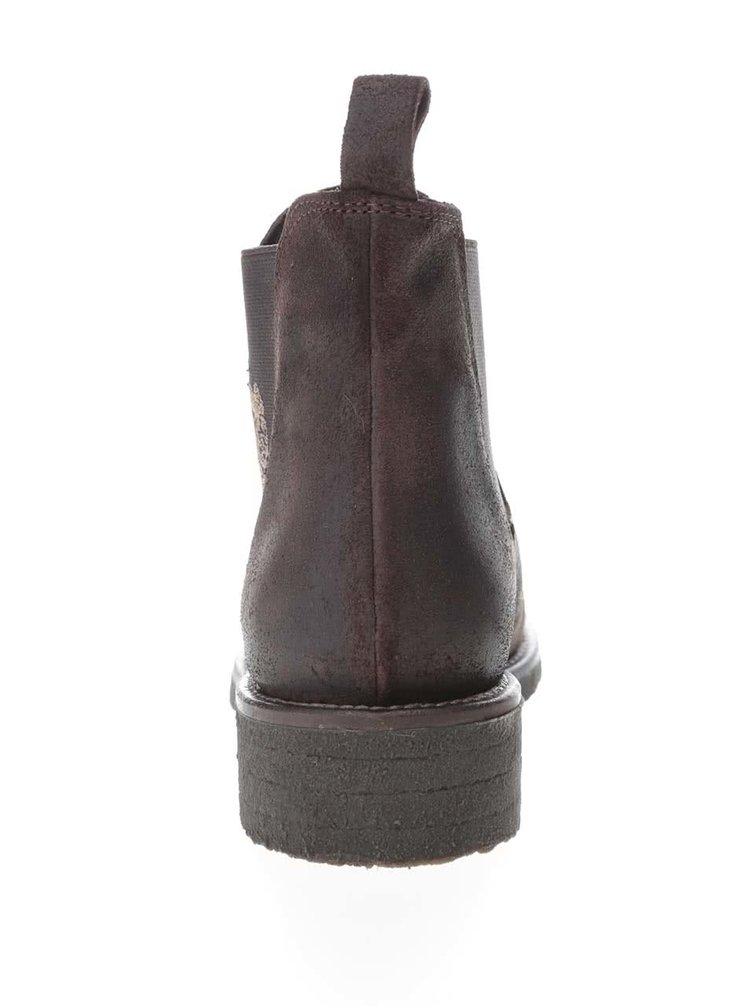 Tmavohnedé členkové dámske topánky z brúsenej kože U.S. Polo Assn. Faris