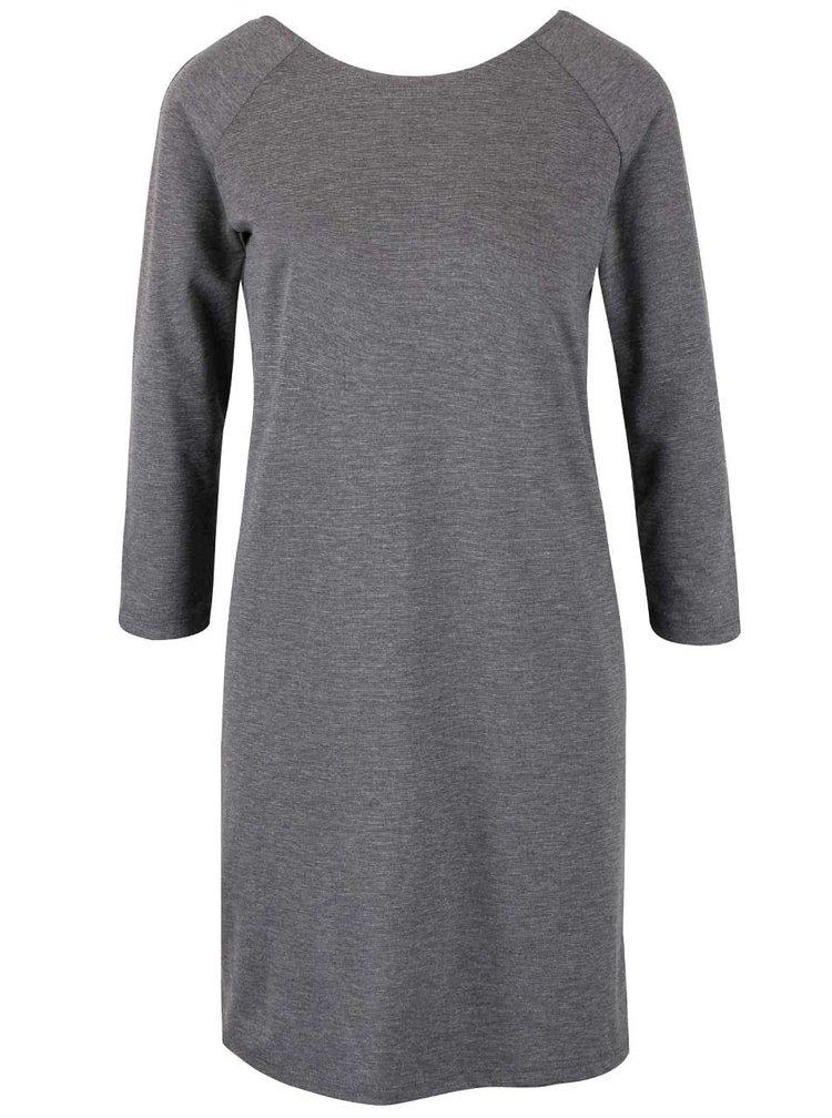 Sivé šaty so zipsom a 3/4 rukávmi VILA Tinny