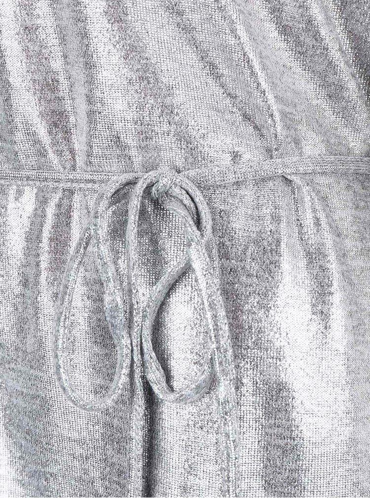 Světle šedé třpytivé šaty VILA Leika
