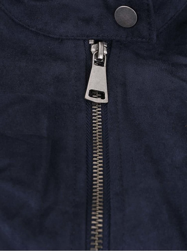 Tmavomodrá bunda v semišovej úprave VERO MODA Mirra
