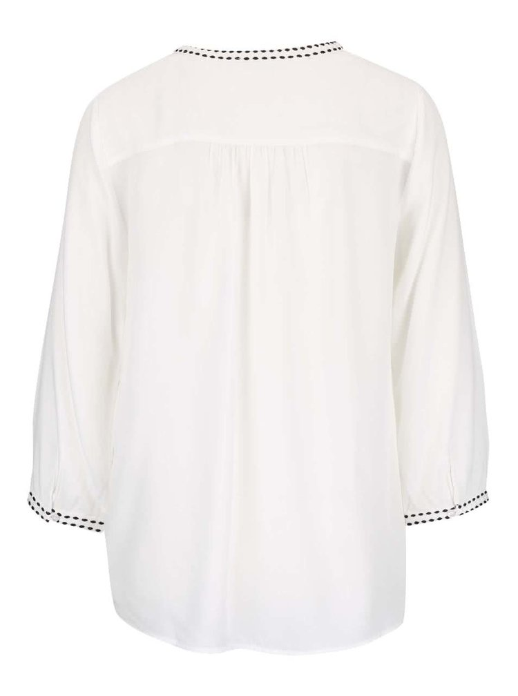 Bluză crem VERO MODA Charlotte cu mâneci trei sferturi