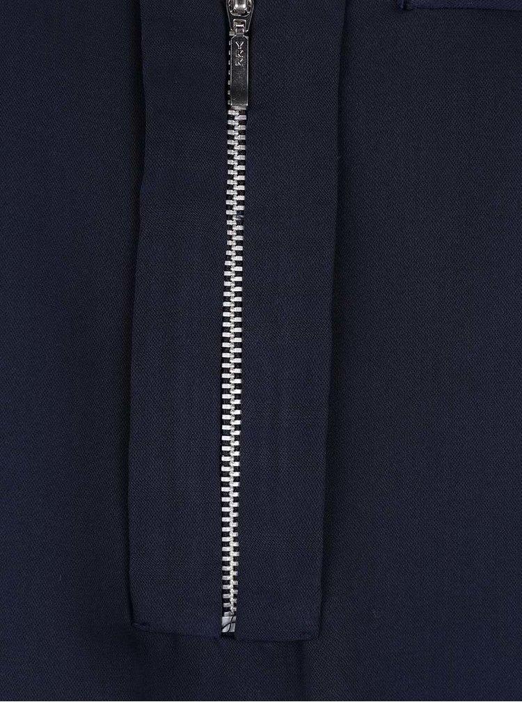 Tmavomodrá blúzka s ozdobným zipsom a dlhým rukávom VERO MODA Kim