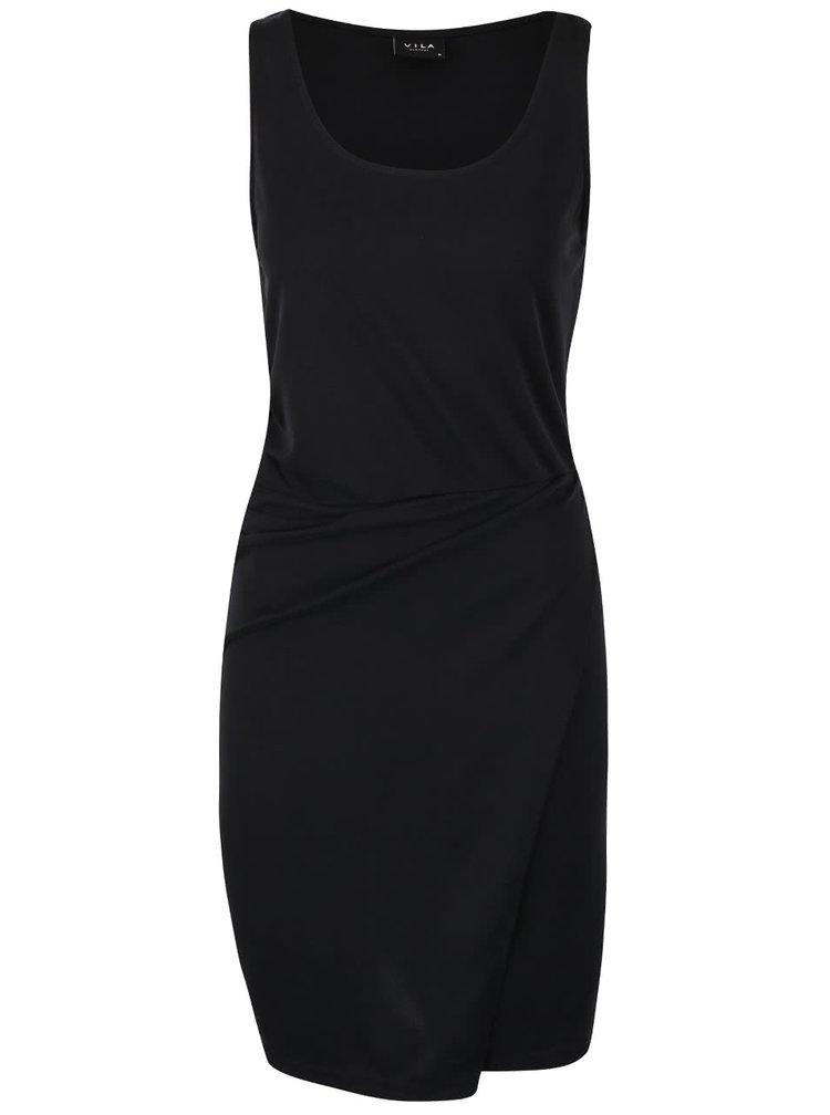 Černé šaty s překládanou sukní VILA Tucca