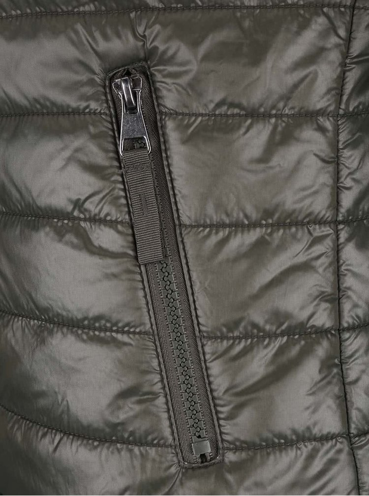 Khaki lesklá prošívaná bunda VERO MODA Fine