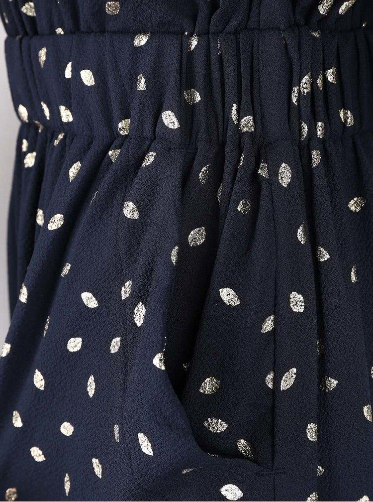 Tmavomodré šaty so vzorom v zlatej farbe VILA Calt
