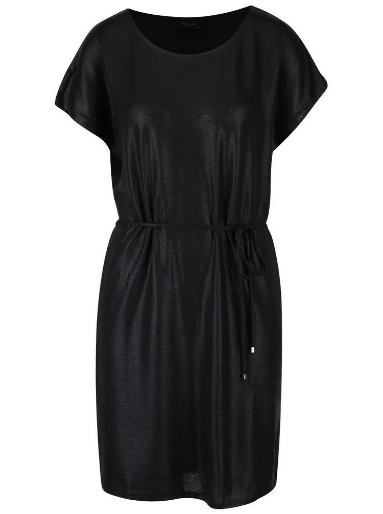 Čierne trblietavé šaty VILA Leika