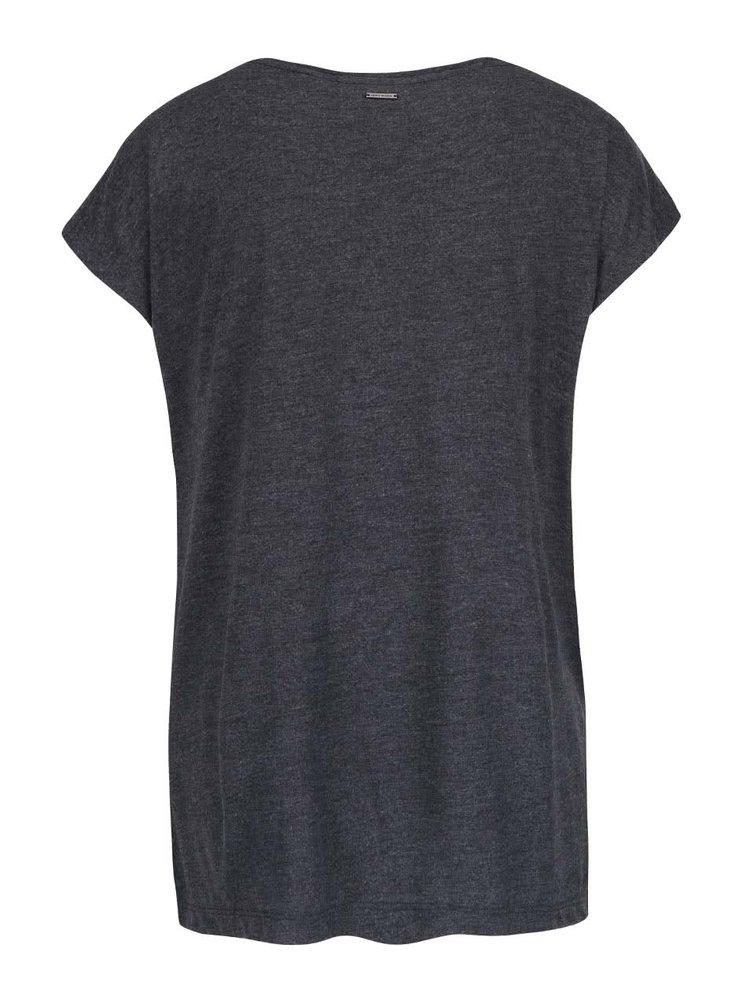 Tmavě šedé žíhané tričko s potiskem VERO MODA Nanna