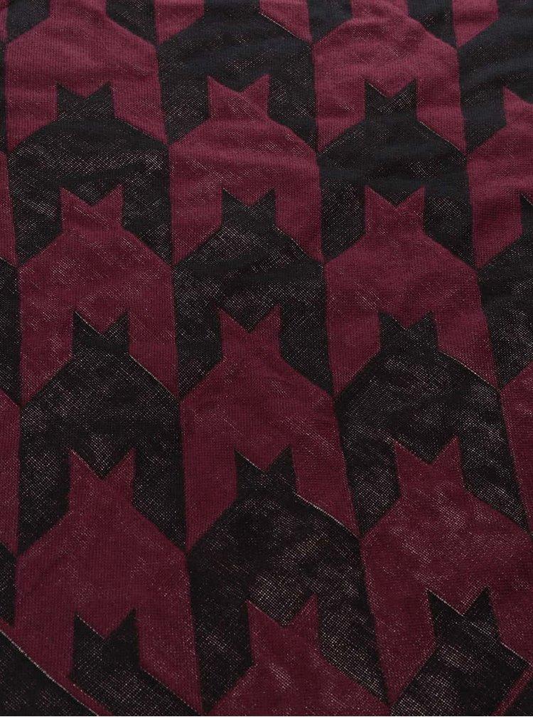 Vínový šál s čiernym vzorom TALLY WEiJL