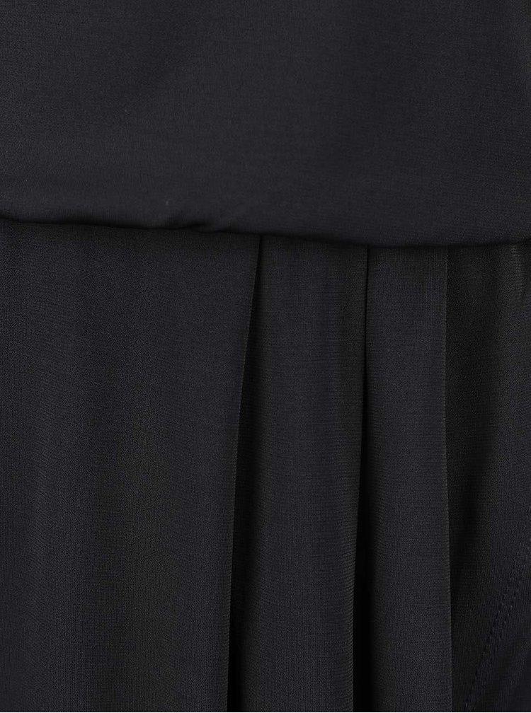 Černé šaty se stažením v pase a překládanou sukní VILA Palli