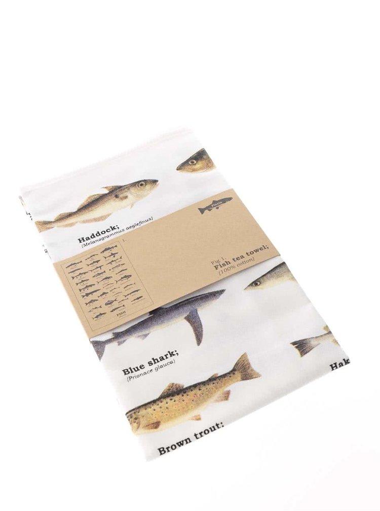 Krémová utierka s potlačou rýb Gift Republic