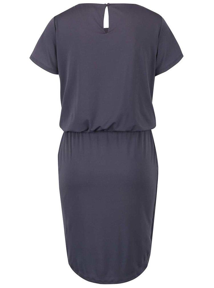 Tmavě šedé šaty se stažením v pase a překládanou sukní VILA Palli