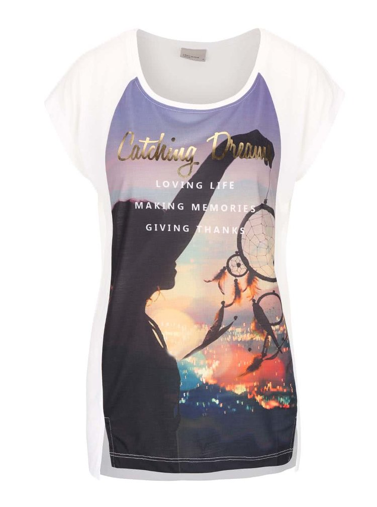 Krémové tričko s potlačou VERO MODA Nanna