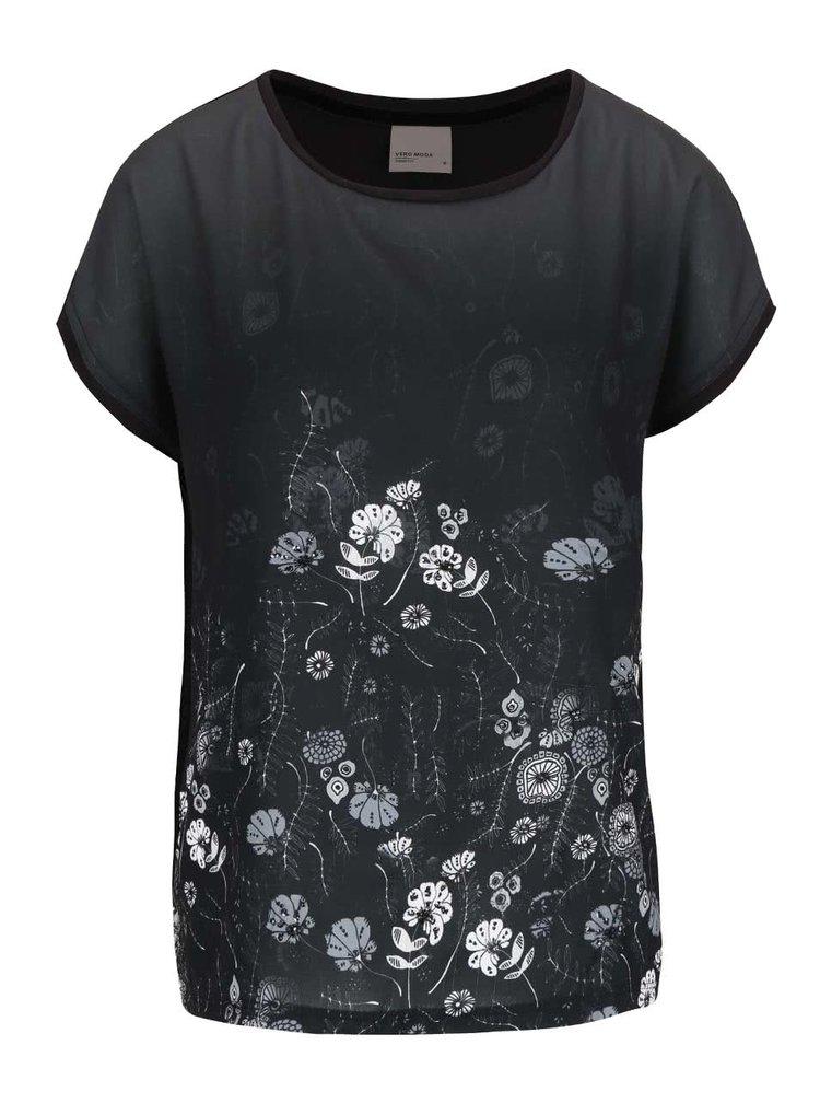 Tricou negru VERO MODA Sia cu model floral