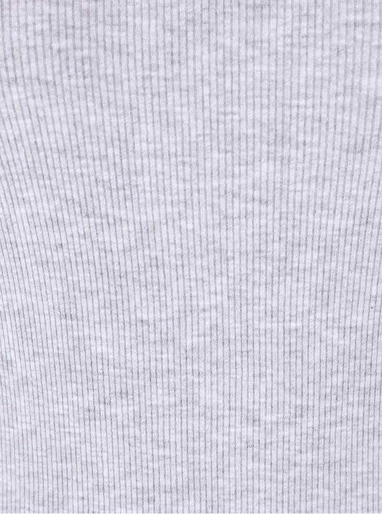 Šedé žíhané žebrované tričko s lodičkovým výstřihem TALLY WEiJL