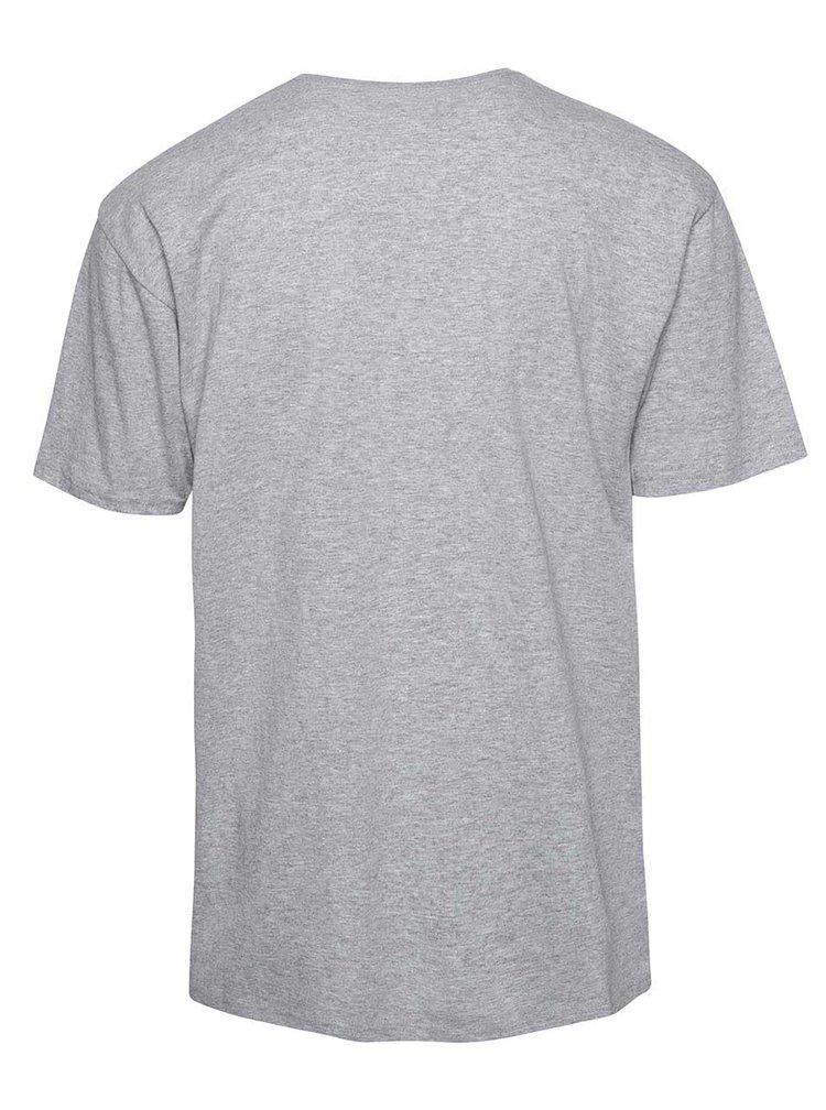 Sivé žíhané pánske tričko s potlačou Vans Classic
